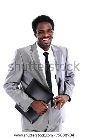 Portrait of a satisfied young African American businessman with folder isolated on white background