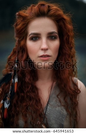 portrait savage ginger girl stock photo (download now) 645941653