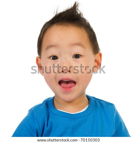 Portrait of a scaring Chinese boy isolated over white