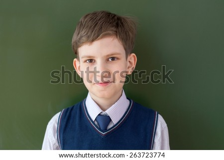 portrait of a schoolboy at the Board - stock photo