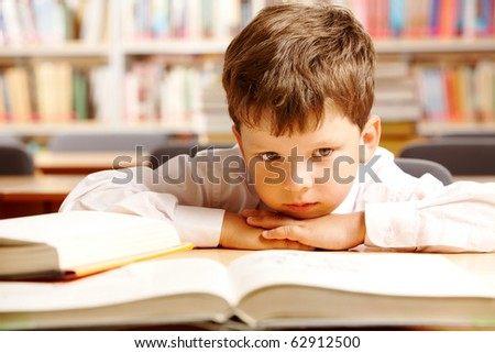 Portrait of a schoolboy sitting at table with books - stock photo