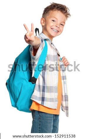 Portrait of a schoolboy with backpack, isolated on white background  - stock photo