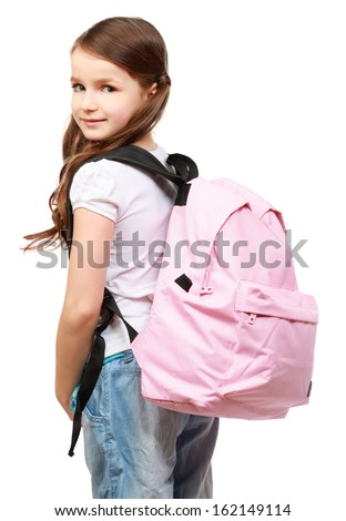 portrait of a schoolgirl , isolated on white background - stock photo
