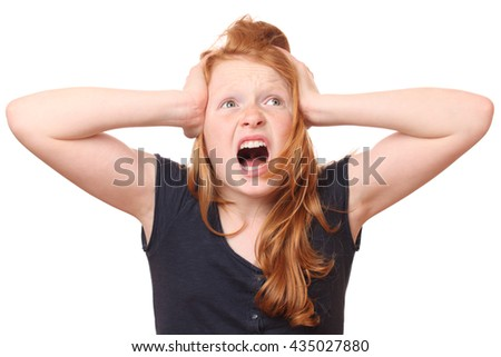 Portrait of a screaming young girl on white background - stock photo