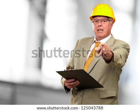 Portrait Of A Senior Architect, Indoor - stock photo