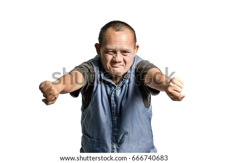 Portrait of a senior asian man in the pose of Kung Fu fighter. Isolated on white background with copy space and clipping path
