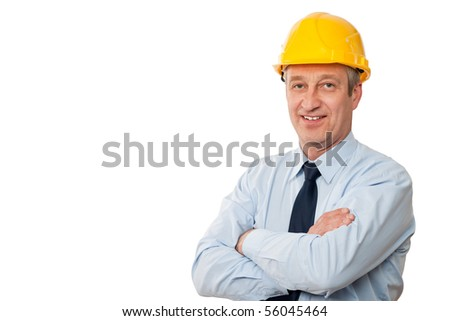 portrait of a senior business man isolated on white background - stock photo