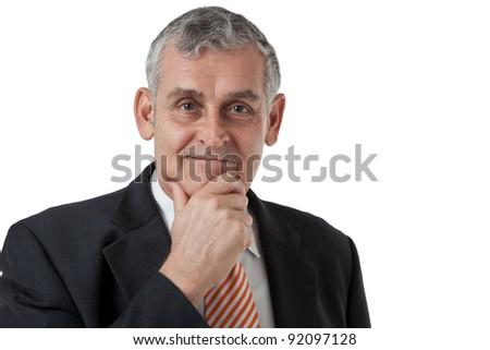 Portrait of a senior business man thinking something - stock photo