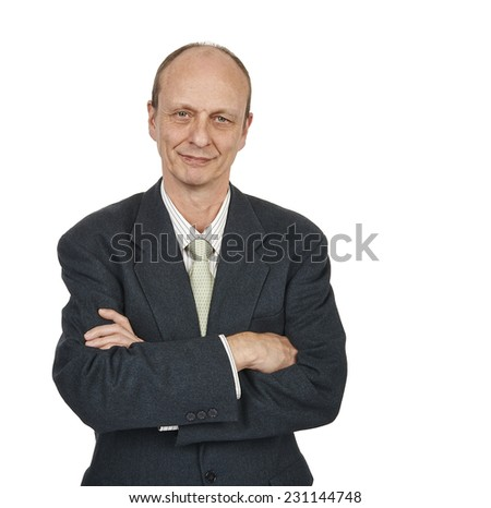 Portrait of a senior businessman smiling isolated