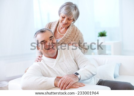 Portrait of a senior couple at home - stock photo