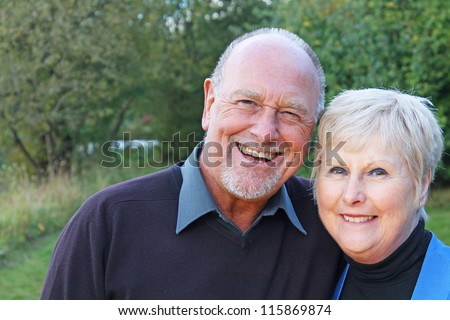 Portrait of a Senior couple in the park - stock photo