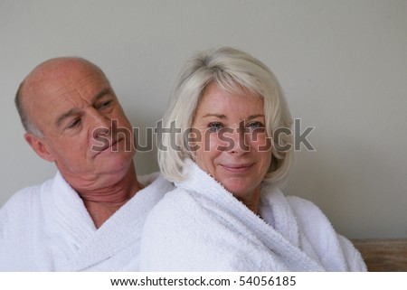 Portrait of a senior couple wearing bathrobes