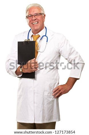 Portrait Of A Senior Doctor On White Background - stock photo