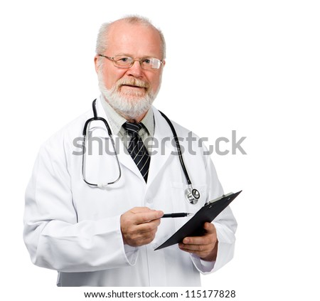 Portrait of a senior doctor writing reports isolated over white background - stock photo