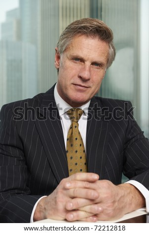 Portrait of a senior executive smiling looking at camera - stock photo