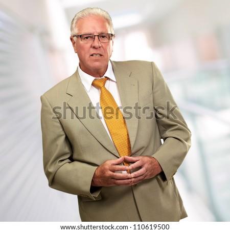 Portrait Of A Senior Man, Background - stock photo