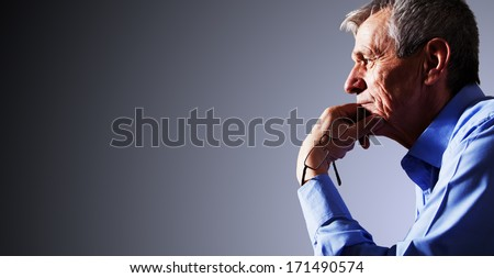 Portrait of a Senior man Contemplating His Life - stock photo