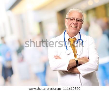 Portrait Of A Senior Man Doctor, Indoor - stock photo
