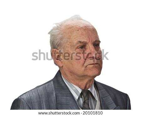 Portrait of a senior man isolated against white background. - stock photo