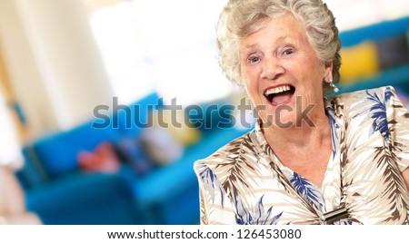 Portrait Of A Senior Woman Happy, Indoor - stock photo