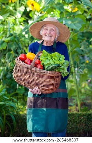 Portrait of a Senior Woman in Gardening Outfit with Basket of Healthy Fresh Vegetables at the Garden While Smiling at the Camera