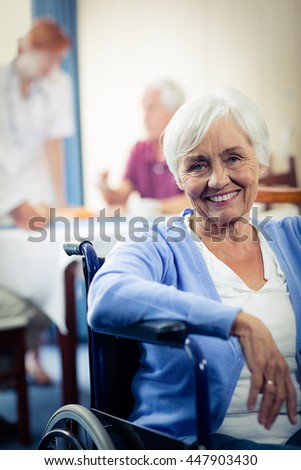 Portrait of a senior woman in the retirement house - stock photo