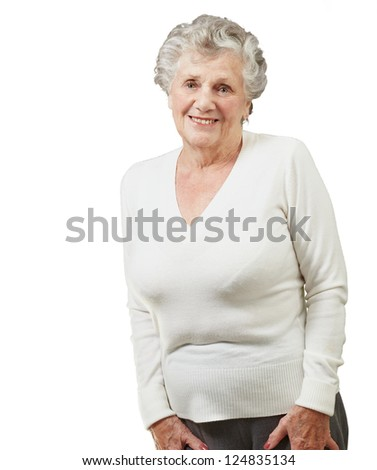 Portrait Of A Senior Woman On White Background - stock photo