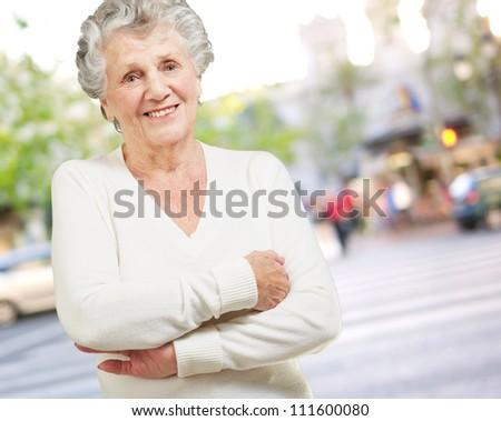 Portrait Of A Senior Woman, Outdoor - stock photo