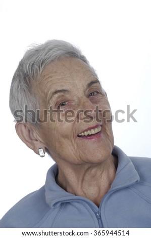 portrait of a senior woman, smile - stock photo