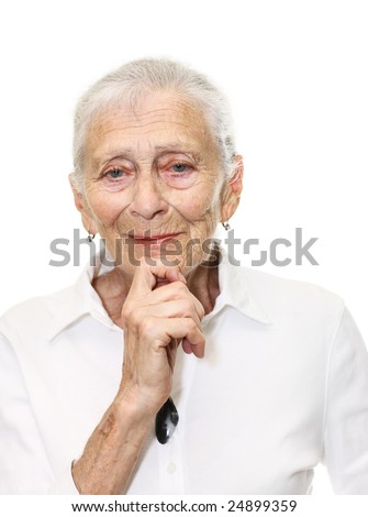 Portrait of a senior woman smiling in camera. Isolated over white background. - stock photo