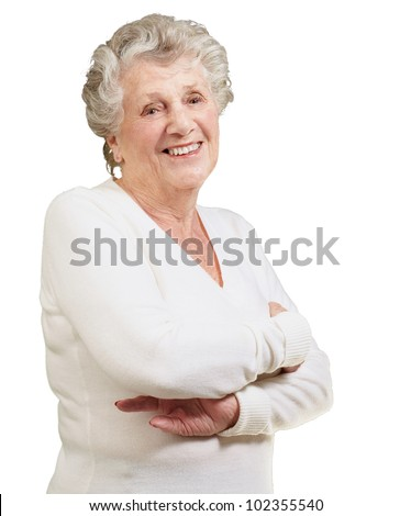 portrait of a senior woman smiling over a white background - stock photo