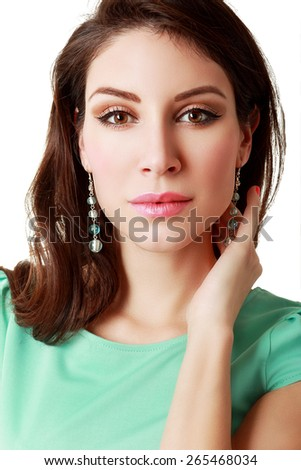 Portrait of a sensual beautiful young woman isolated on white background - stock photo