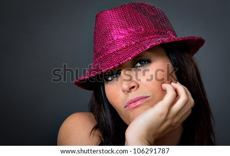portrait of a sensual girl with hat