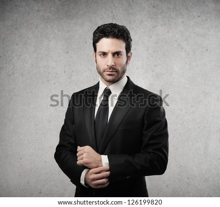 Portrait of a serious businessman - stock photo