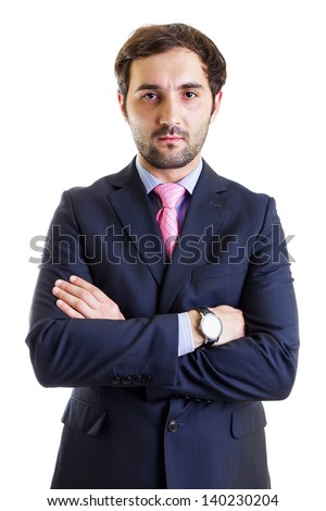 Portrait of a serious  businessman with arms crossed, isolated on white - stock photo