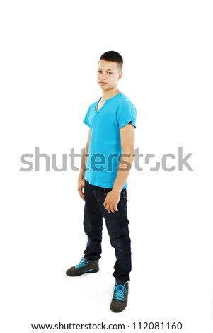 Portrait of a serious handsome young man isolated over white background - stock photo