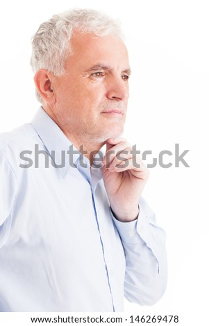 Portrait of a serious man thinking deeply. - stock photo
