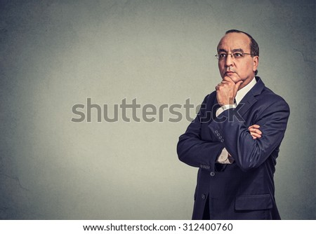 Portrait of a serious thoughtful businessman
