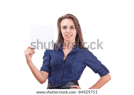 Portrait of a serious young woman pointing at blank card in her hand against white background - stock photo