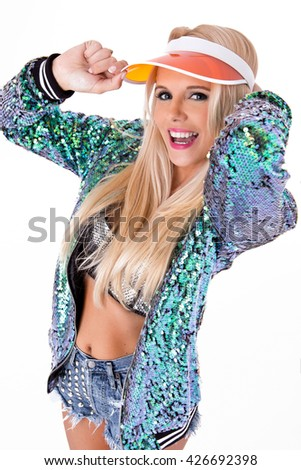 Portrait of a Sexy Blonde Woman posing in the studio - stock photo