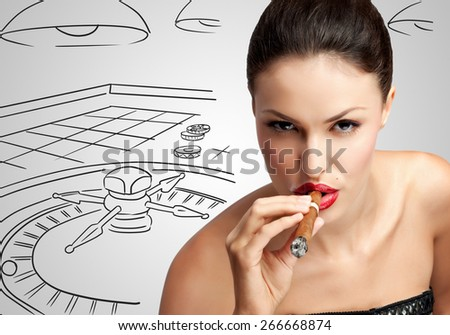 Portrait of a sexy rich woman, smoking a cigar on sketchy background of casino roulette. - stock photo