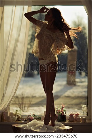 portrait of a sexy sensual kinky girl in transparent clothes against the window in full growth - stock photo