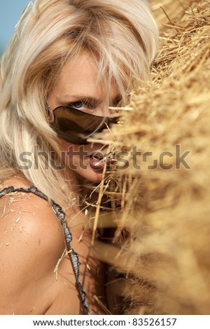 Portrait of a sexy woman  in hay stack on a summer day - stock photo