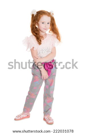 Portrait of a six years old girl with red hair in full growth. - stock photo