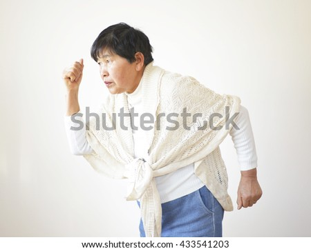 Portrait of a sixty years old woman ; run, go, move