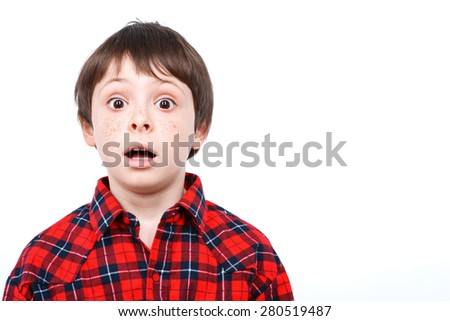 Portrait of a small boy looking very surprised holding his mouth opened wearing checkered shirt isolated on white background