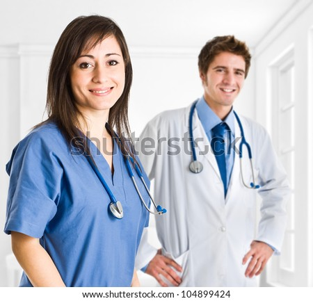 Portrait of a small medical team - stock photo