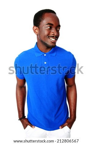 Portrait of a smiling african man looking away over white background