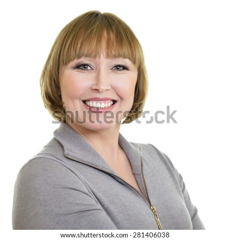 Portrait of a smiling attractive middle aged caucasian woman isolated on white background - stock photo