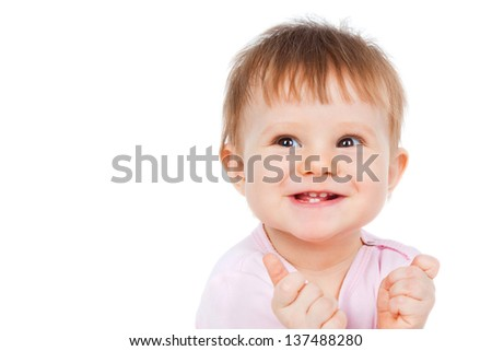 Portrait of a smiling baby, isolated on white